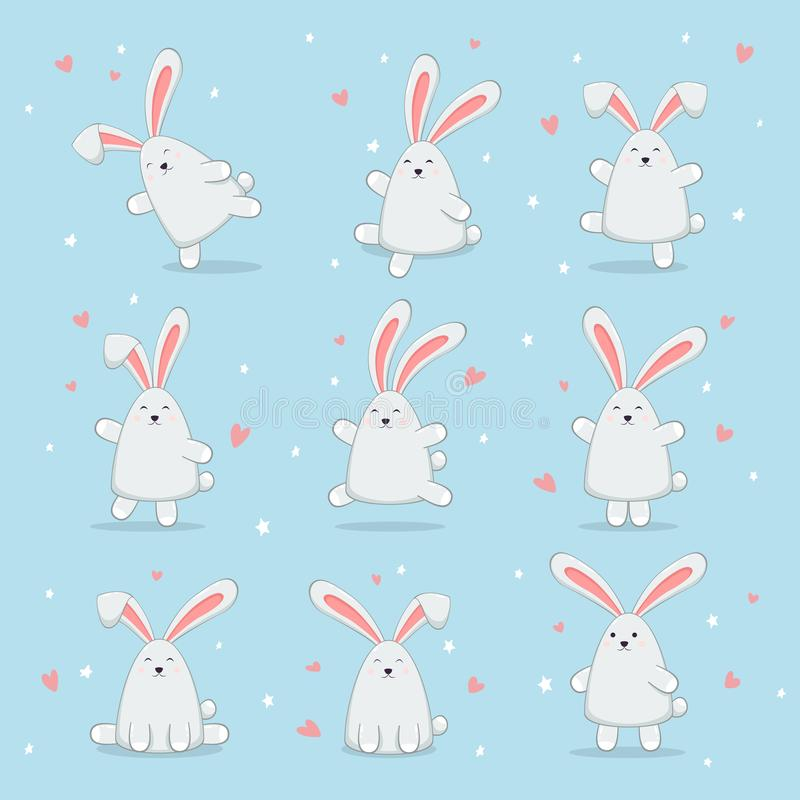 Ställ in av lyckliga påskkaniner på blå bakgrund royaltyfri illustrationer