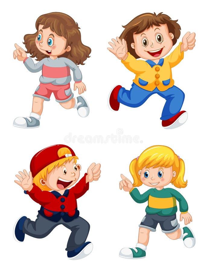 Ställ in av lyckliga ungar vektor illustrationer