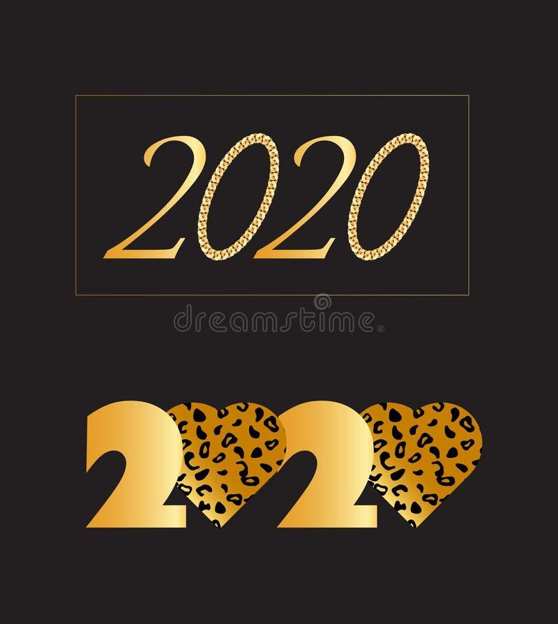 Ställ in av lyckligt nytt år 202 vektor illustrationer