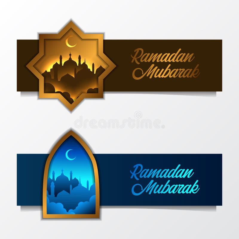 St?ll in av lyxig mall f?r islamiskt baner med mosk?konturn med det guld- ramf?nstret stock illustrationer