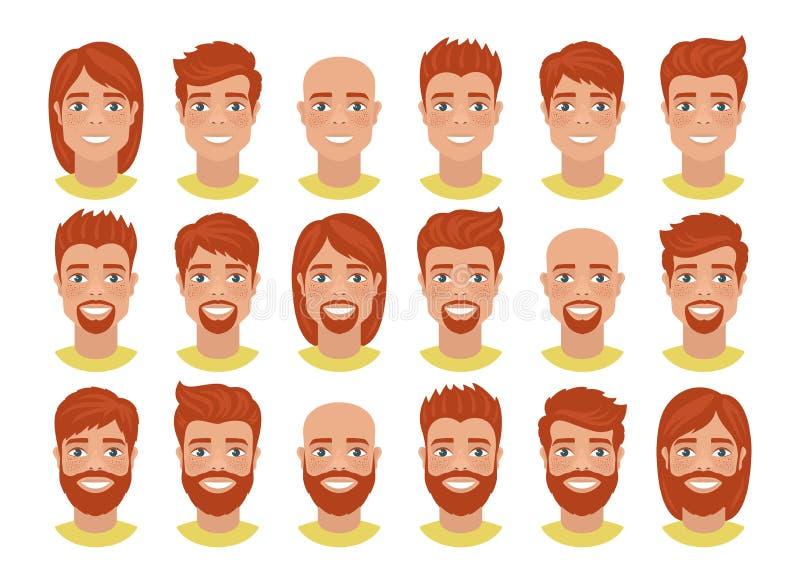 Ställ in av mäns avatars med olika frisyrer: långt eller kort hår som är skalligt, med skägget eller utan vektor illustrationer