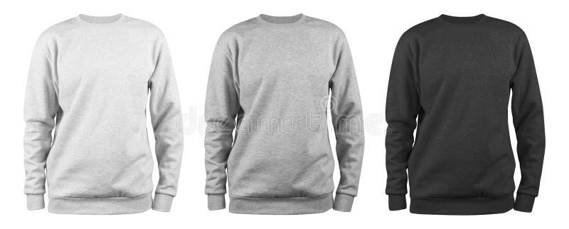 Ställ in av mäns tom tröjamall - vit, grå, svart naturlig form på osynlig skyltdocka, för din designmodell för pri arkivbild