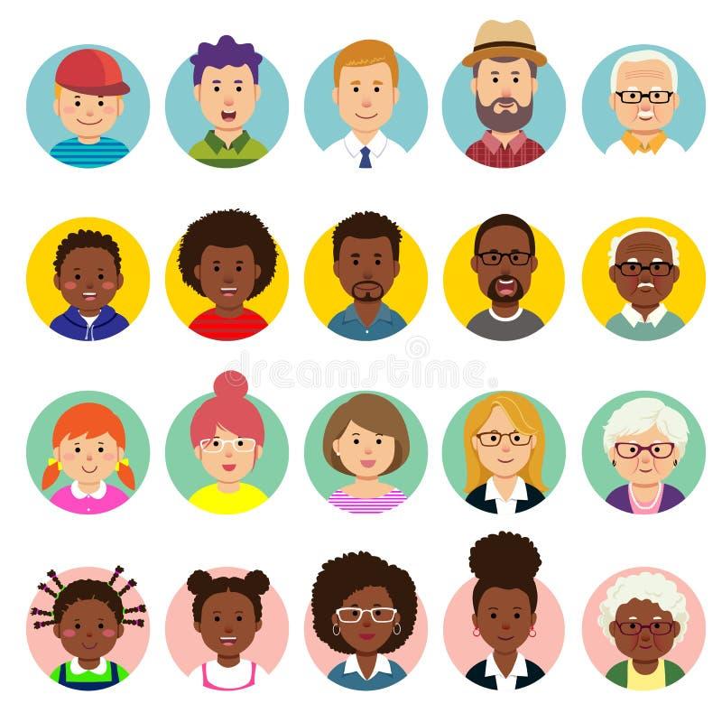 Ställ in av mänskliga framsidor, avatars, olika nationalitet för folkhuvud och åldrar i plan stil royaltyfri illustrationer
