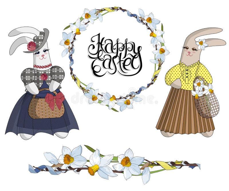 Ställ in av märkes- objekt: easter krans av påskliljor, den sömlösa blommaborsten och trendiga kaniner i klänningar royaltyfri illustrationer