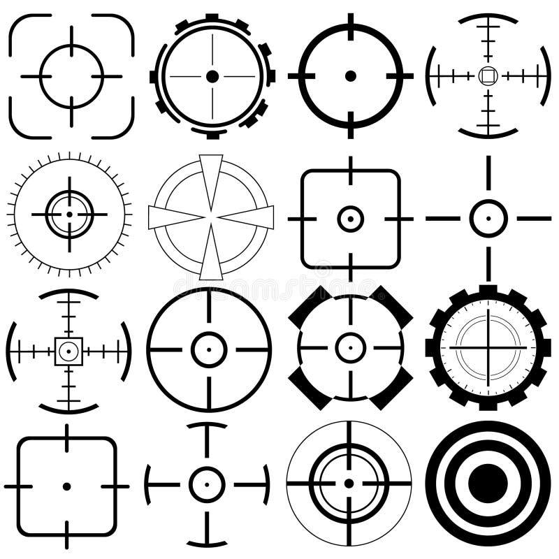 Ställ in av mållinjen symboler, liksom jobbjakt som siktar, pil vektor illustrationer