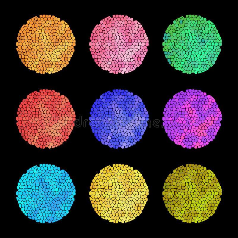 Ställ in av mång--färgade abstrakta runda prickar Isolerat på svart bakgrund stock illustrationer