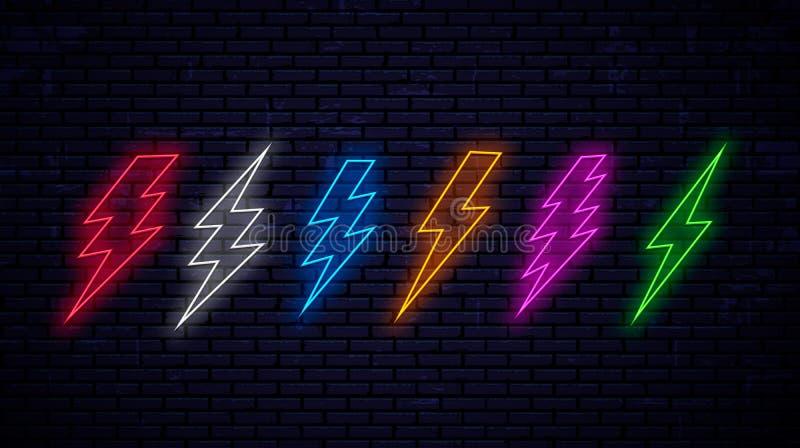 Ställ in av mångfärgade ljusa neonblixtar vektor illustrationer