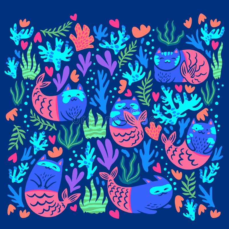 Ställ in av magiska kattsjöjungfruar illustrat?ren f?r illustrationen f?r handen f?r borstekol g?r teckningen tecknade som look p arkivbilder