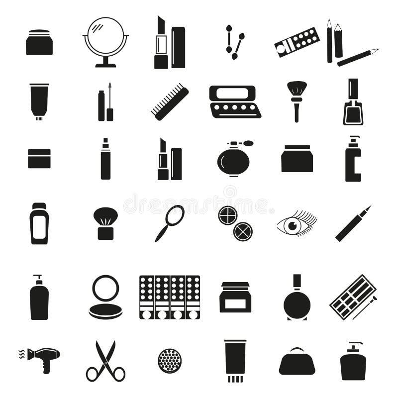 Ställ in av makeup för kvinnor och flickor 36 symboler stock illustrationer