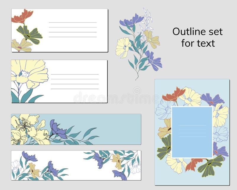 Ställ in av mallar för affärskort och textramar med den blom- modellen Naturlig prydnad av målade blommor i retro stil för stock illustrationer