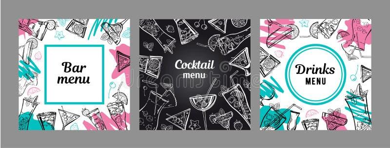 Ställ in av mallar för design för coctailmenyräkning Utdragen illustration för vektoröversiktshand med den färgfläckar och svart  vektor illustrationer