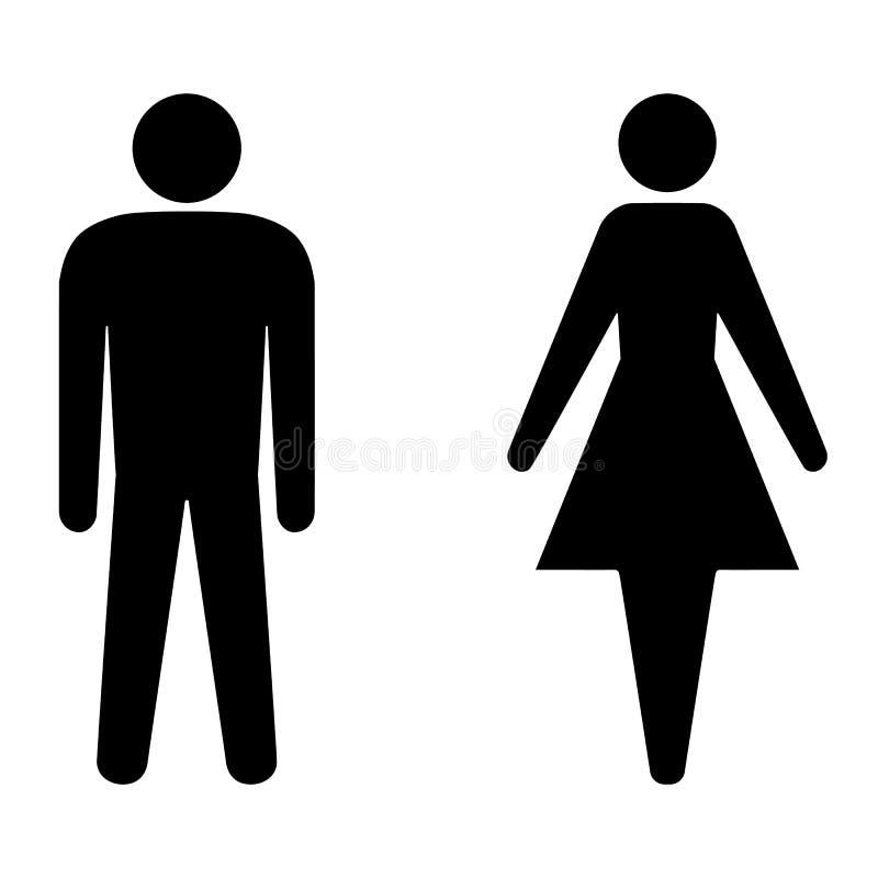 Ställ in av man- och kvinnasymboler för toalett royaltyfri illustrationer