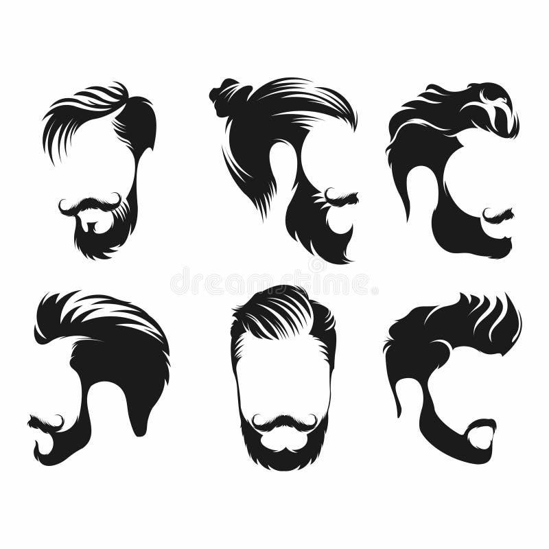 Ställ in av mans frisyren med skäggmustaschen - vektor stock illustrationer