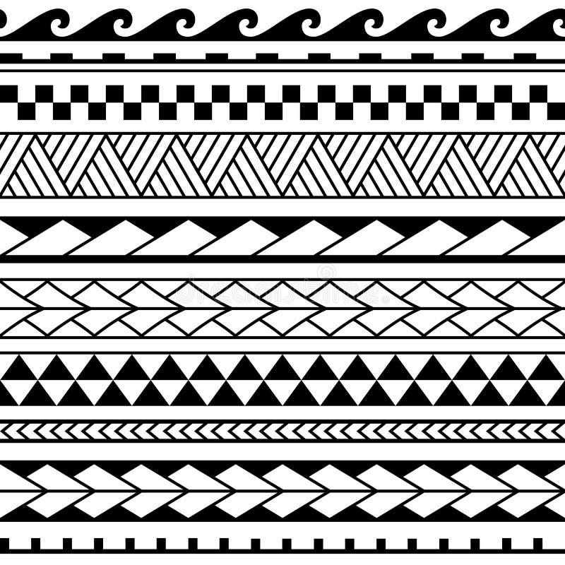 Ställ in av maori prydnadarmbandtatuering Etnisk horisontalsömlös modell för vektor stock illustrationer