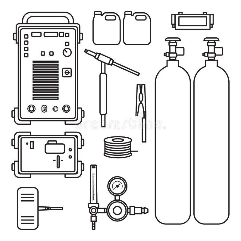 Ställ in av maskinen för argon för illustrationgassvetsning med regulatorbehållarefacklan stock illustrationer
