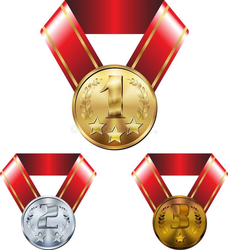 Ställ in av medaljer, guld- silver och brons, på band royaltyfri illustrationer