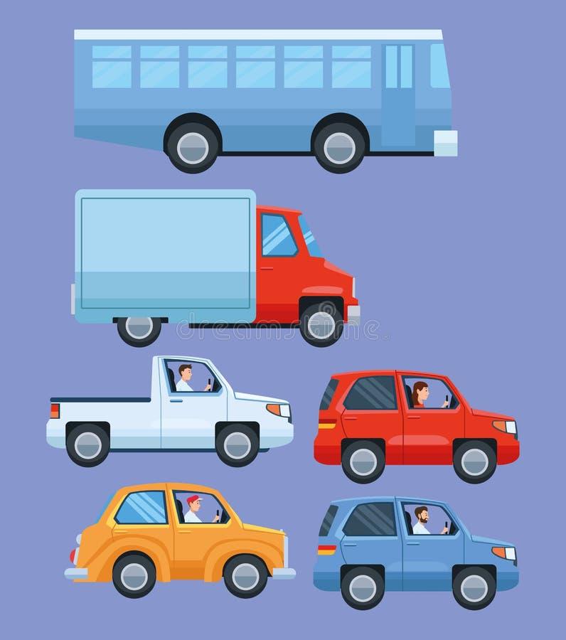 Ställ in av medel och transportobjekt stock illustrationer