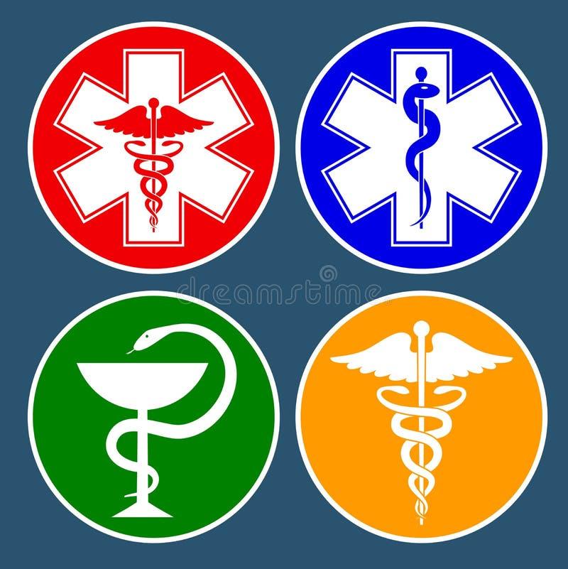 Ställ in av medicinska internationella symboler som dekoreras i en cirkel Stjärna av liv, personal av Asclepius, caduceus, bunke  vektor illustrationer