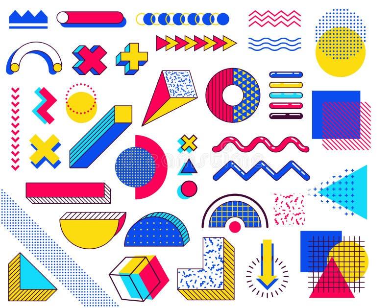 Ställ in av memphis designbeståndsdelar Den abstrakta 90-tal tenderar beståndsdelar med mångfärgade enkla geometriska former vektor illustrationer