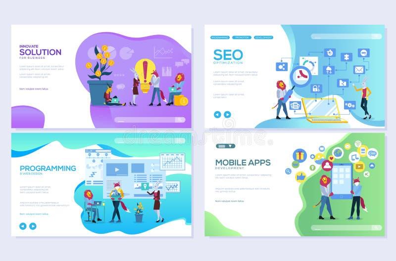 Ställ in av mobil websiteutveckling, SEO, apps, affärslösningar Mallar för design för webbsidavektorillustration redigera royaltyfri illustrationer