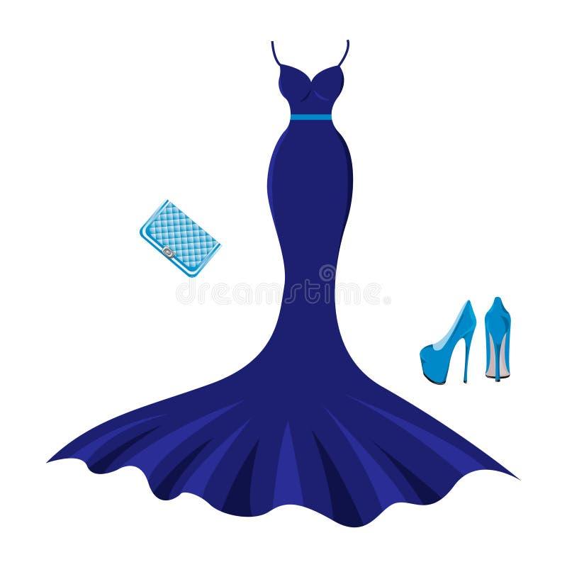 Ställ in av modeaftonkläder stock illustrationer