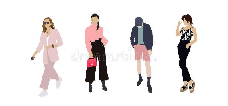 Ställ in av modefolk Folket för den plana designen för vektorn som poserar det färgrika trendiga står i olikt Kvinnor och en man royaltyfri illustrationer
