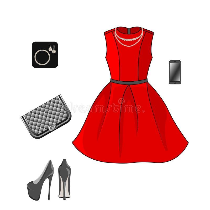 Ställ in av modekläder: röd klänning, skor, koppling och tillbehör royaltyfri illustrationer