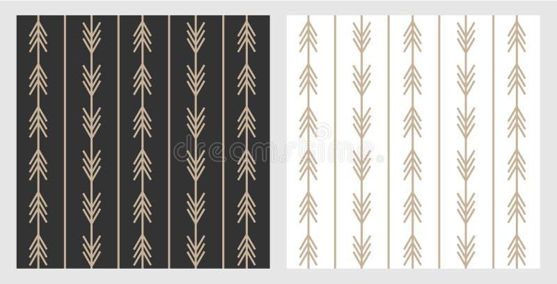 Ställ in av moderiktiga modeller för bohostilpil i svartvitt för orientering och bakgrund Guld- pilar på modern scandinavian stil vektor illustrationer