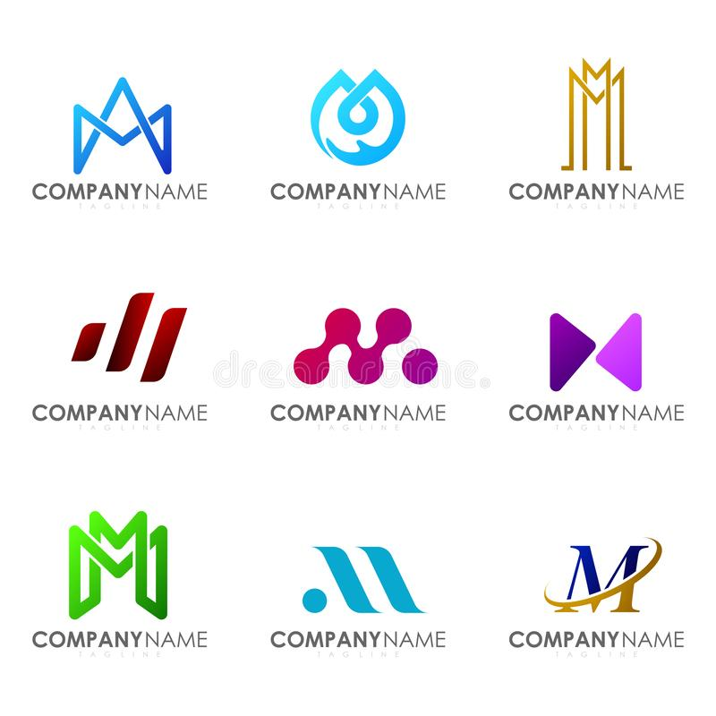 Ställ in av modern bokstav M för alfabetlogodesignen arkivbilder