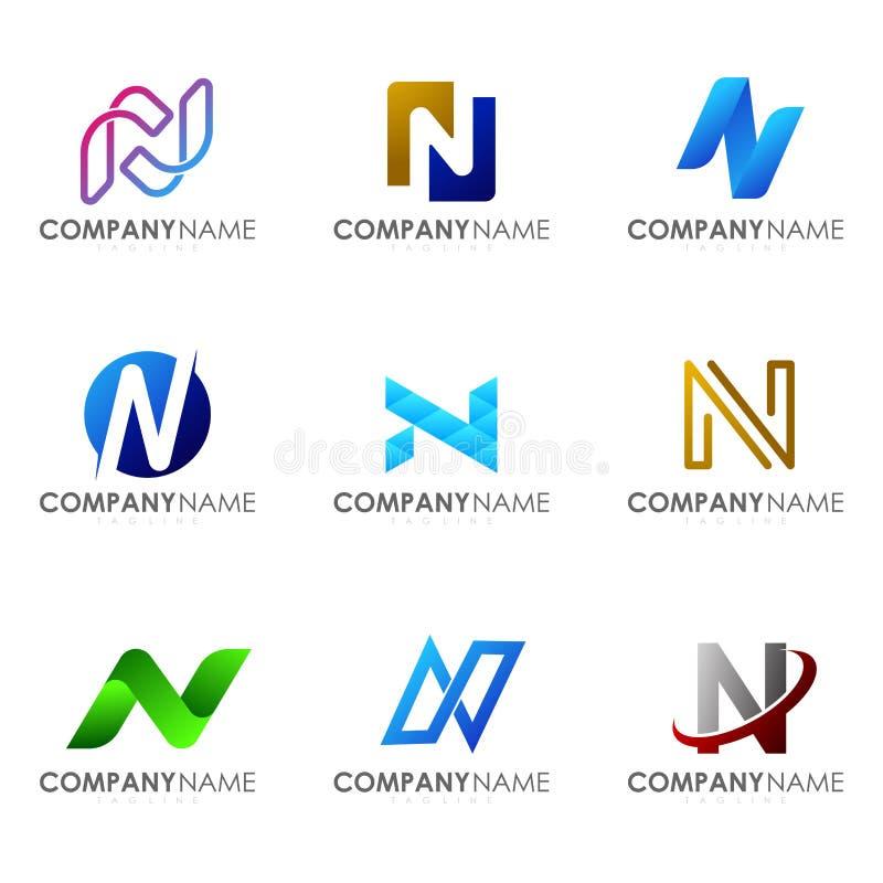 Ställ in av modern bokstav N för alfabetlogodesignen stock illustrationer