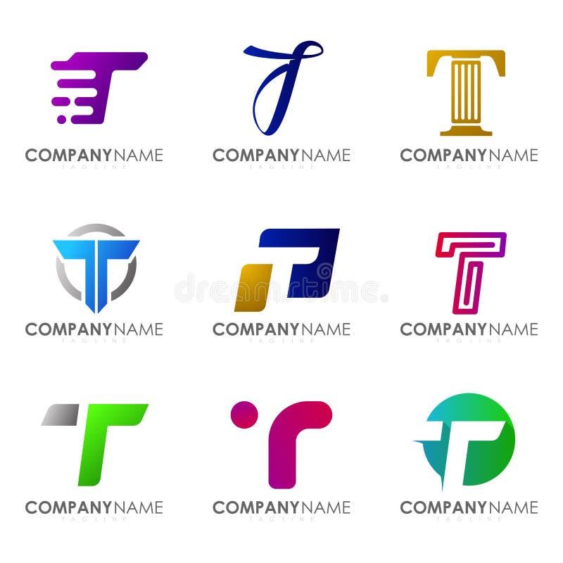 Ställ in av modern bokstav T för alfabetlogodesignen royaltyfria bilder