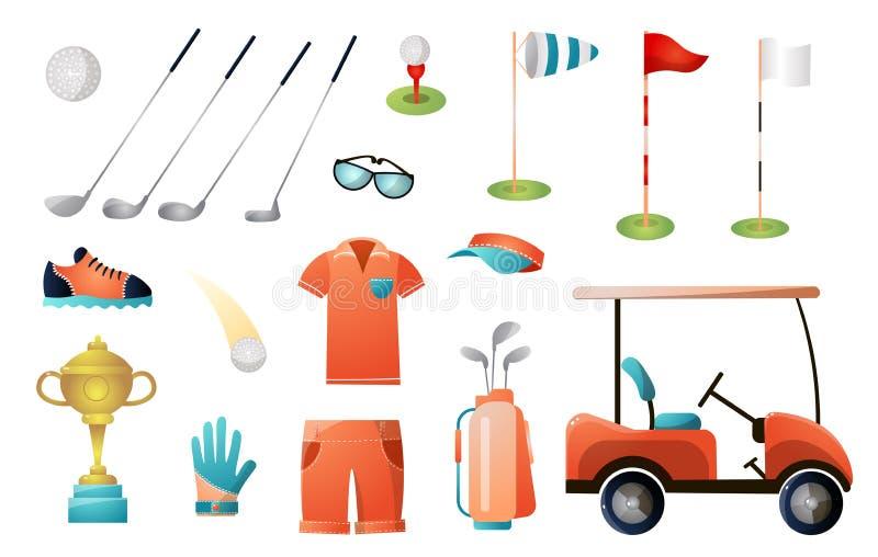 St?ll in av modern golfutrustning f?r guld- m?sterskap vektor illustrationer