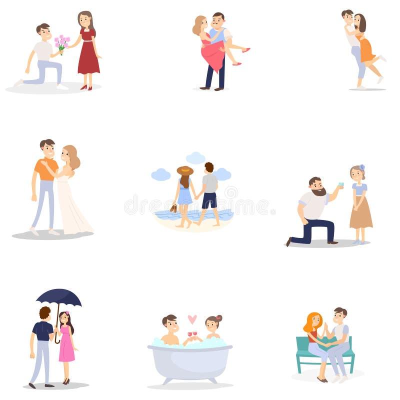 Ställ in av modern romantisk par, kvinna och man i olikt läge royaltyfri illustrationer