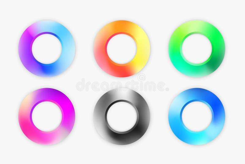 Ställ in av moderna cirkelbeståndsdelar i färgrik palett royaltyfri illustrationer