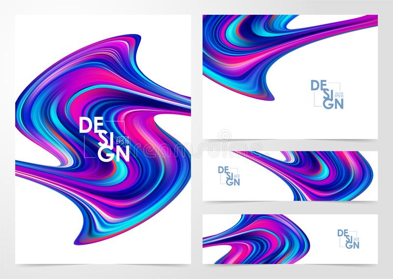 Ställ in av moderna färgflödesbakgrunder Abstrakt våg vätskeShape skriva för mall för designbrandanteckningsbok som är ditt royaltyfri illustrationer