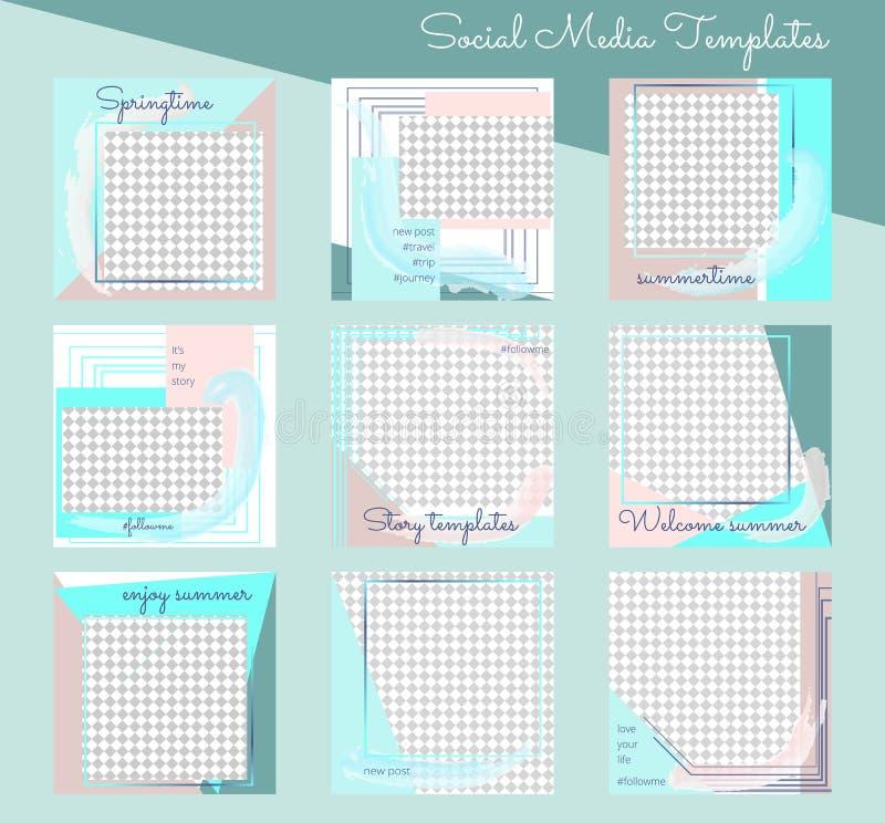 Ställ in av moderna redigerbara fyrkantiga rengöringsdukmallar för social massmediabloggstolpe stock illustrationer