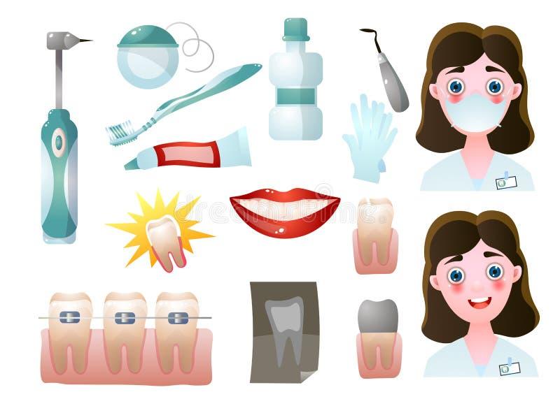 Ställ in av moderna stomatologysymboler eller dentisdoktorshjälpmedel vektor illustrationer