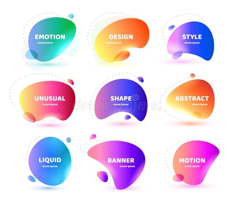 Ställ in av modernt abstrakt vektorbaner Plan geometrisk färgrik vätskeform Färgad designmall av en logo, reklamblad royaltyfri illustrationer