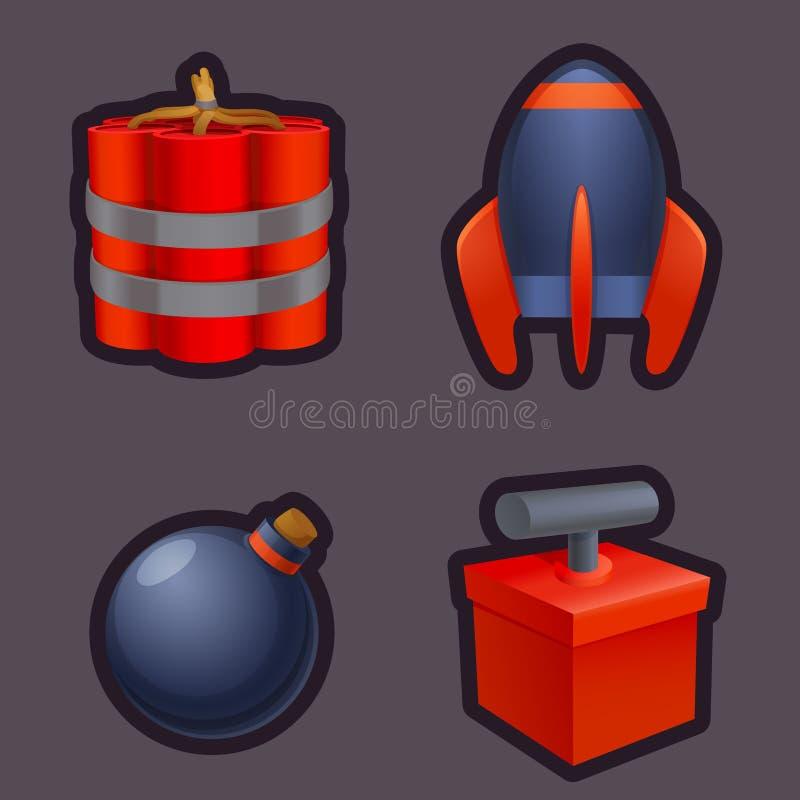 Ställ in av modiga symboler för explosivt vapen Modig konst stock illustrationer