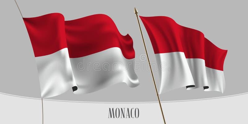 Ställ in av Monaco den vinkande flaggan på isolerad bakgrundsvektorillustration stock illustrationer