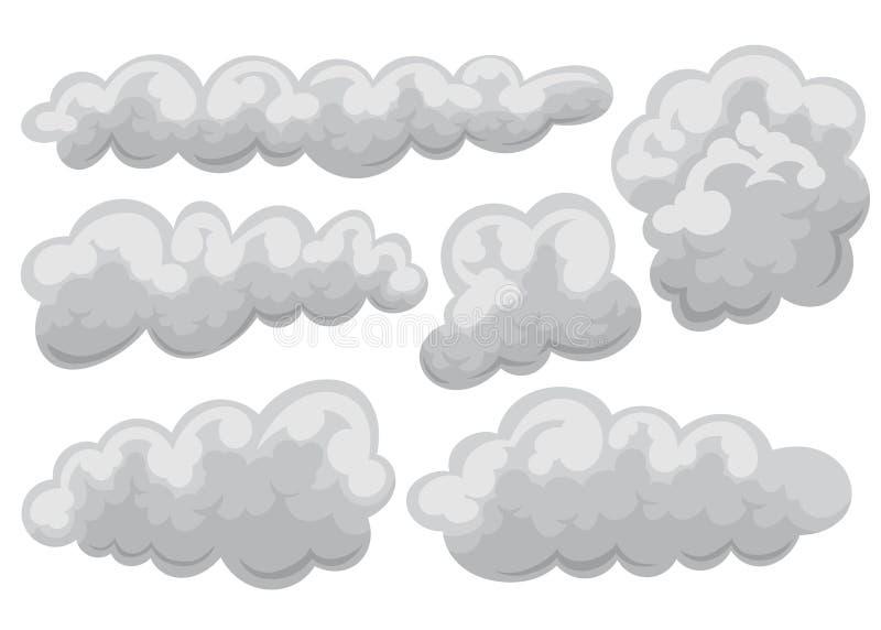 Ställ in av mulen och molnsymbol i tecknad film och plan stil f?r objektbana f?r bakgrund clipping isolerad white ocks? vektor f? royaltyfri illustrationer