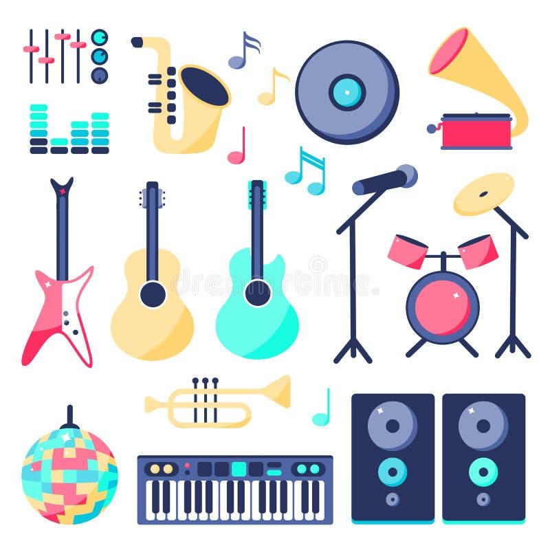 Ställ in av musikinstrument i plan stil: högtalaren vaggar gitarren, gitarren, diskobollen, mikrofonen, piano, royaltyfri illustrationer