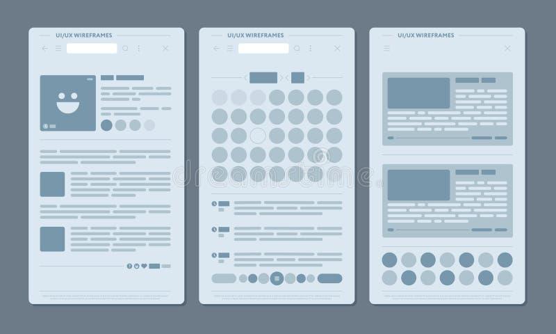 Ställ in av nätverkssidor med publikationer stock illustrationer