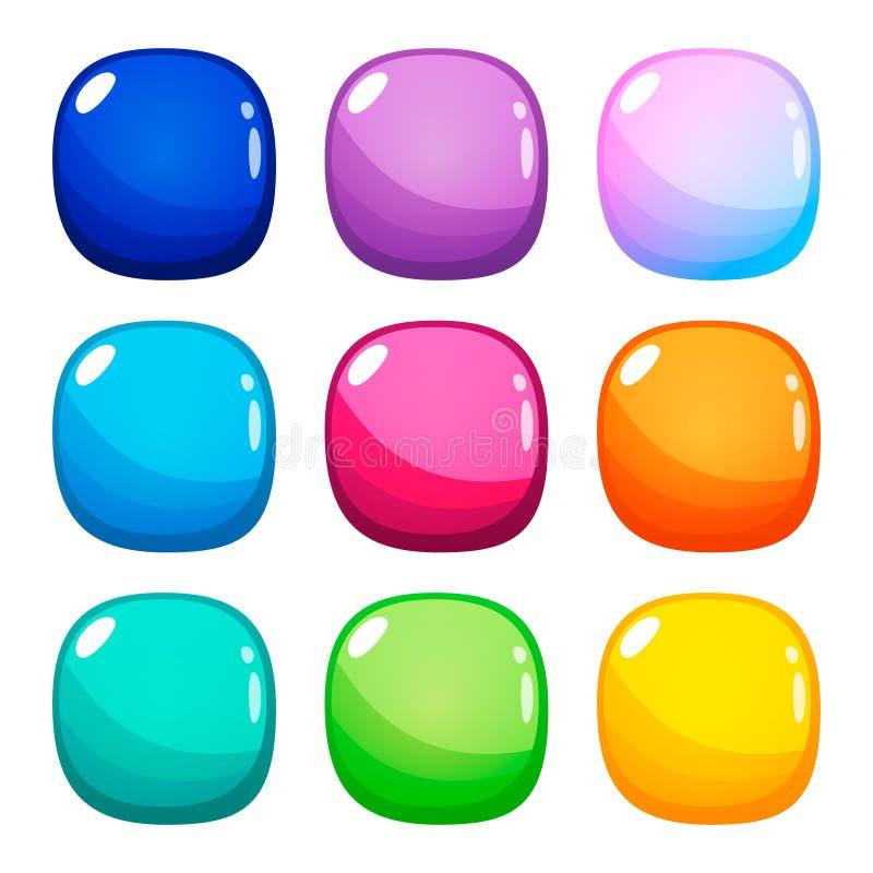 Ställ in av nio färgrika rundade fyrkantiga glansiga knappar stock illustrationer