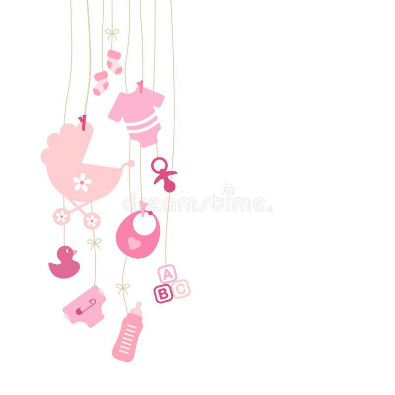 Ställ in av nio som vänstert hänga behandla som ett barn symbolsflickarosa färger royaltyfri illustrationer
