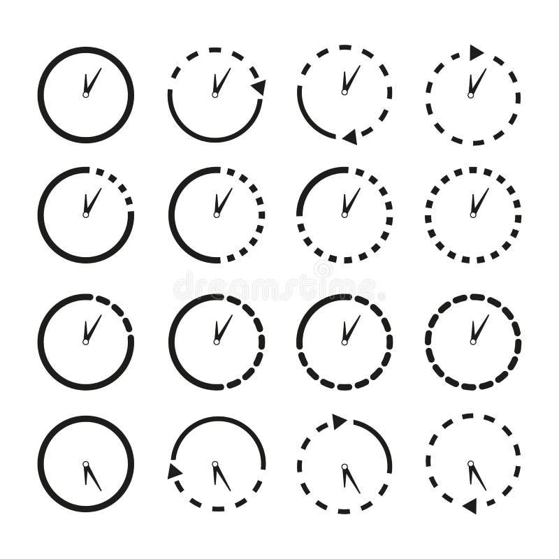 Ställ in av Non för att stoppa symboler klockorna royaltyfri illustrationer