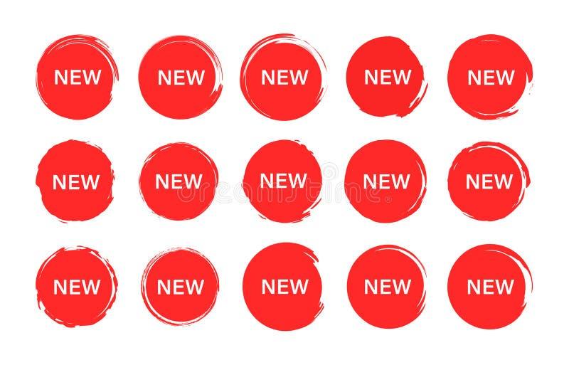 Ställ in av ny etikett för etikett Grungestämplar, emblem och baner Specialt erbjudande, varm försäljning, bästa pris shopping oc stock illustrationer