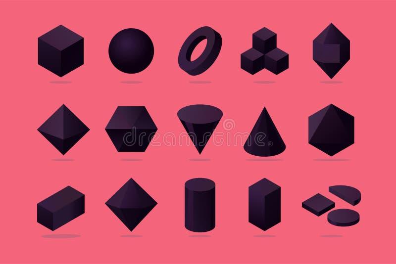 Ställ in av objekt 3d Grundläggande polygoneformer Isometrisk proection Moderiktiga designbeståndsdelar stock illustrationer