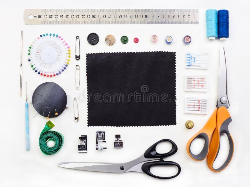Ställ in av objekt för handarbete på vit bakgrund royaltyfri foto