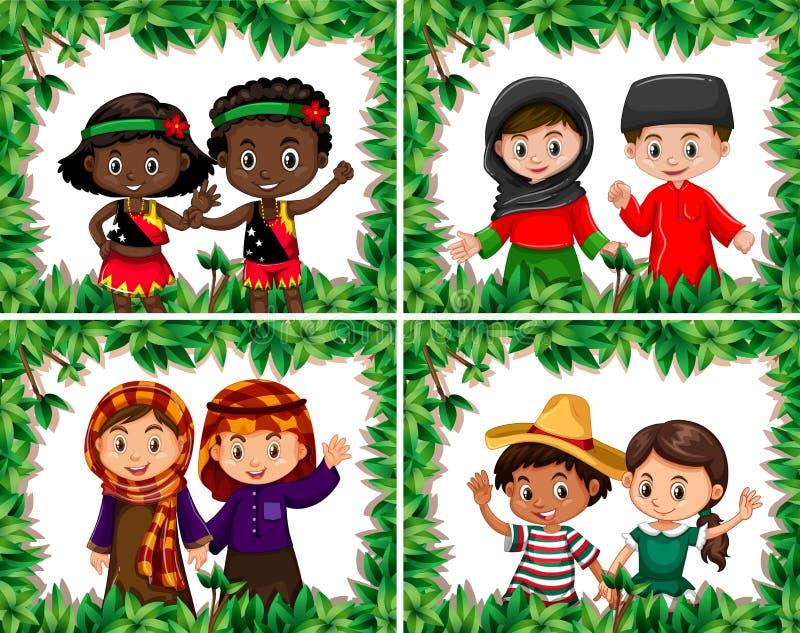 Ställ in av olika barn i bladgräns stock illustrationer